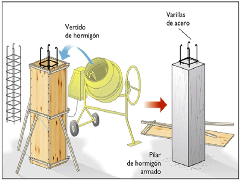 Hormigón armadoEs un tipo de hormigón reforzado con barras de acero para mejorar sus capacidades de tracción.