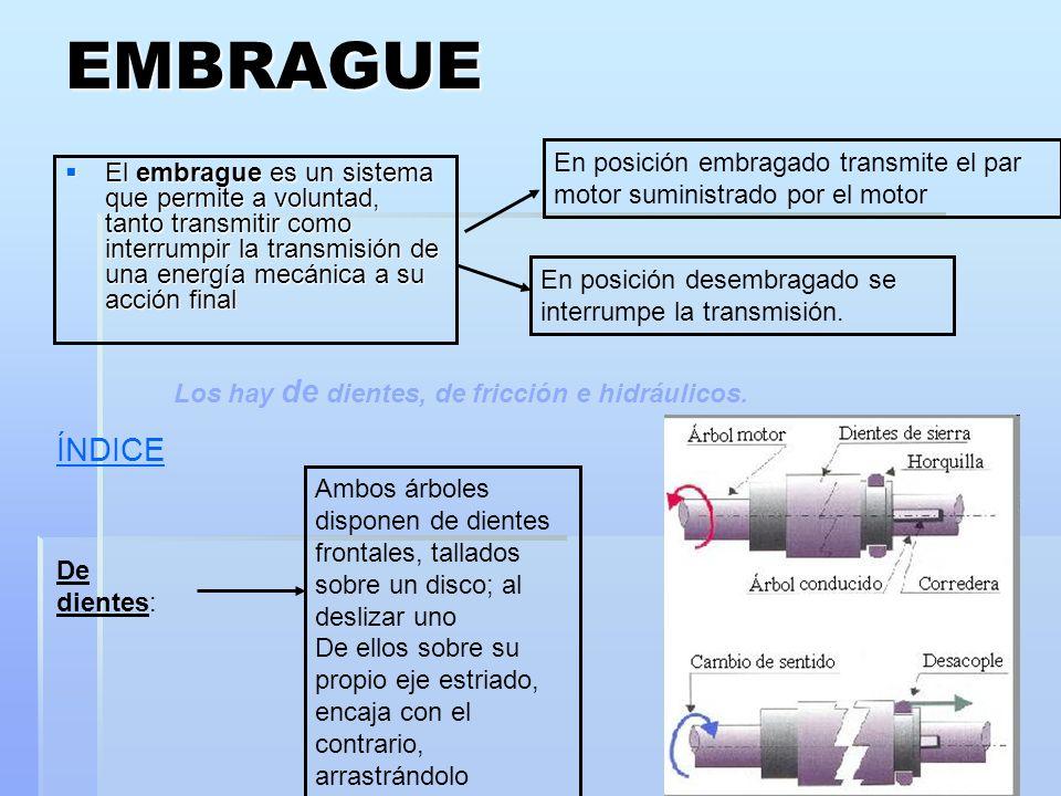 EMBRAGUE En posición embragado transmite el par motor suministrado por el motor.