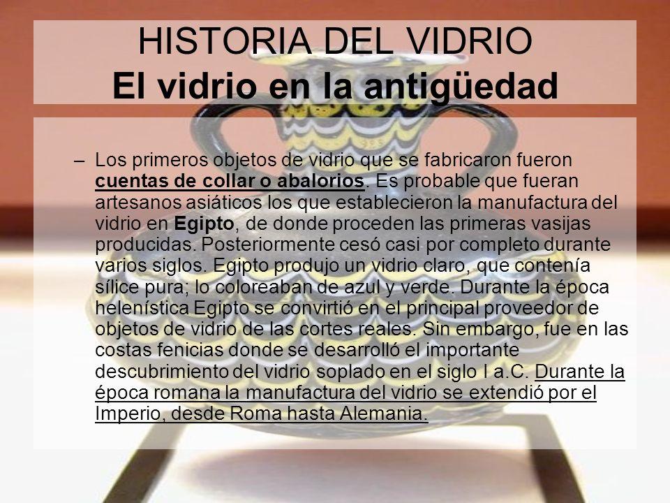 HISTORIA DEL VIDRIO El vidrio en la antigüedad