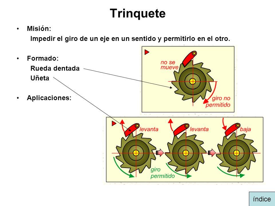 Trinquete Misión: Impedir el giro de un eje en un sentido y permitirlo en el otro. Formado: Rueda dentada.