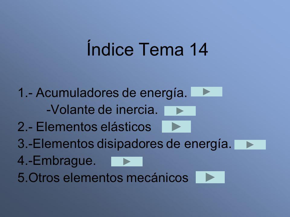 Índice Tema 14 1.- Acumuladores de energía. -Volante de inercia.