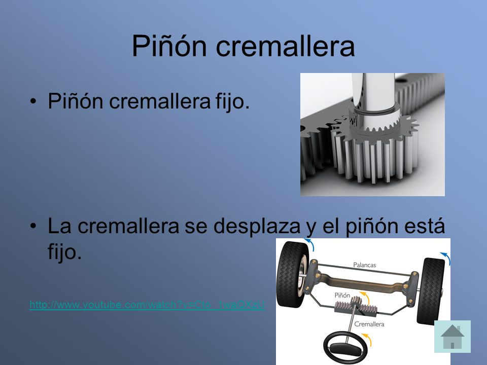 Piñón cremallera Piñón cremallera fijo.
