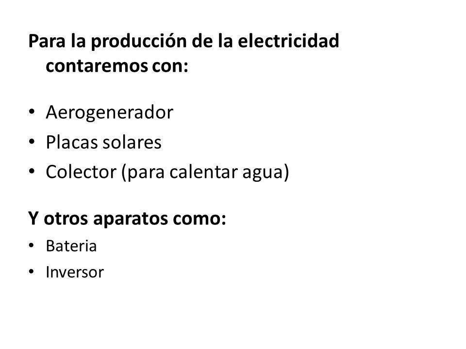 Para la producción de la electricidad contaremos con: