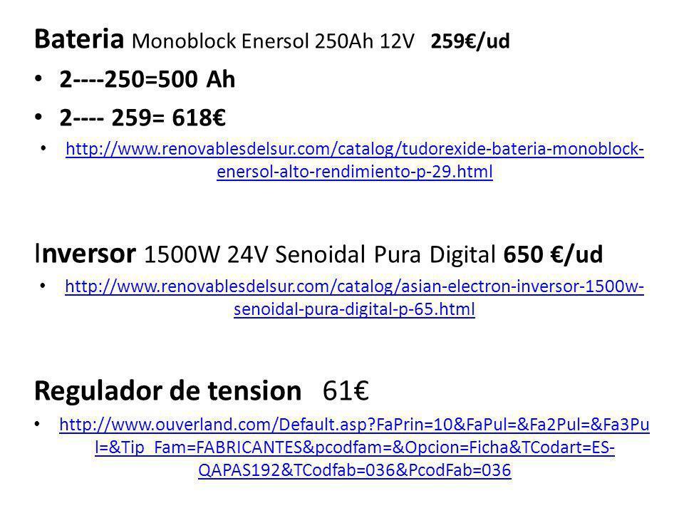 Bateria Monoblock Enersol 250Ah 12V 259€/ud