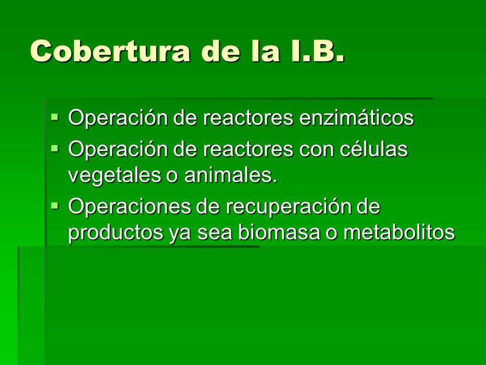 Cobertura de la I.B. Operación de reactores enzimáticos