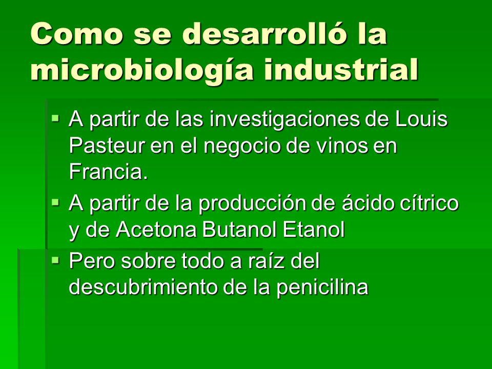 Como se desarrolló la microbiología industrial