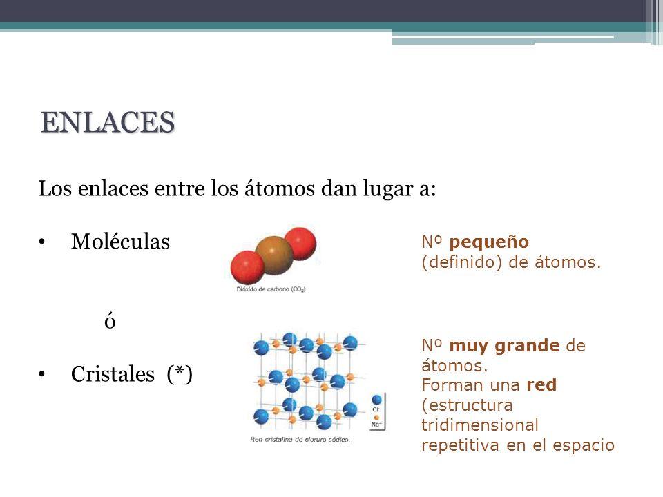 ENLACES Los enlaces entre los átomos dan lugar a: Moléculas ó
