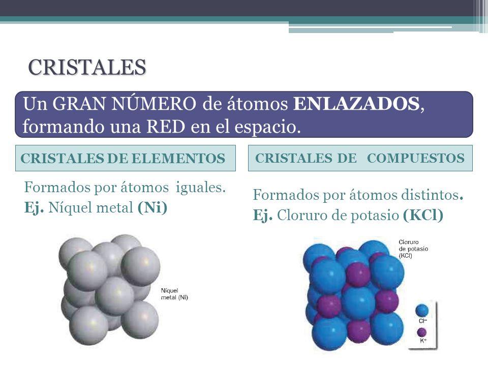 CRISTALES Un GRAN NÚMERO de átomos ENLAZADOS, formando una RED en el espacio. CRISTALES DE ELEMENTOS.
