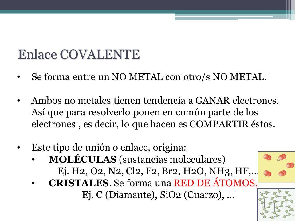 Ej. C (Diamante), SiO2 (Cuarzo), …