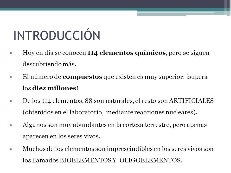 INTRODUCCIÓN Hoy en día se conocen 114 elementos químicos, pero se siguen descubriendo más.