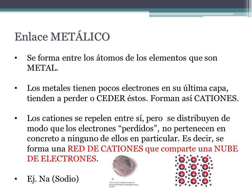 Enlace METÁLICO Se forma entre los átomos de los elementos que son METAL.