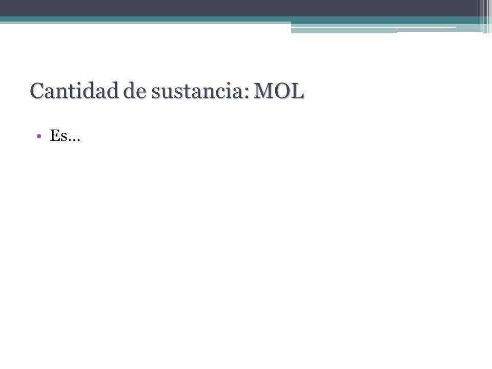 Cantidad de sustancia: MOL