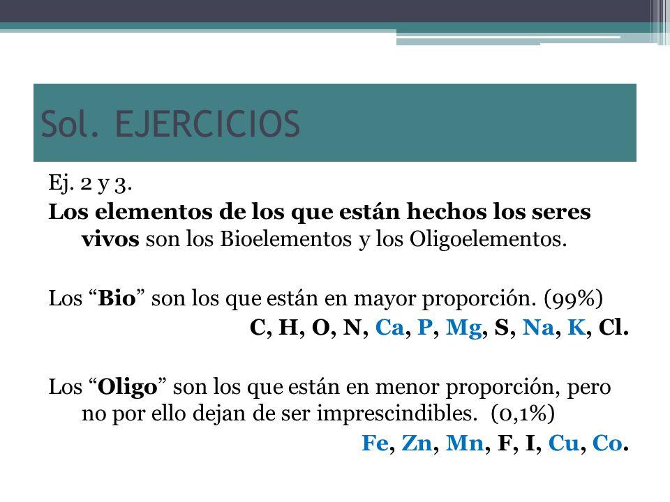 Sol. EJERCICIOS Ej. 2 y 3. Los elementos de los que están hechos los seres vivos son los Bioelementos y los Oligoelementos.