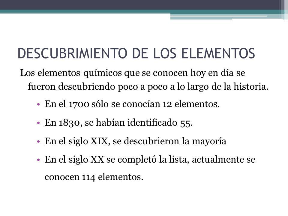 DESCUBRIMIENTO DE LOS ELEMENTOS