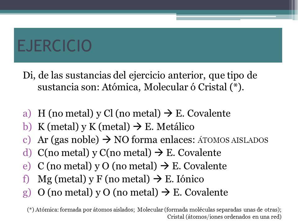 EJERCICIO Di, de las sustancias del ejercicio anterior, que tipo de sustancia son: Atómica, Molecular ó Cristal (*).