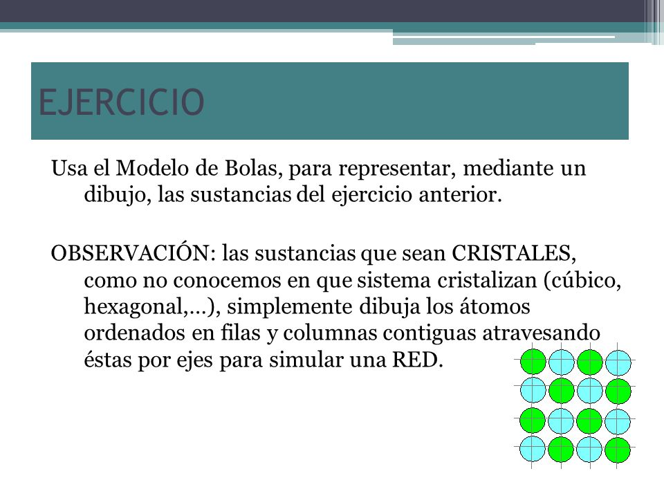 EJERCICIO Usa el Modelo de Bolas, para representar, mediante un dibujo, las sustancias del ejercicio anterior.