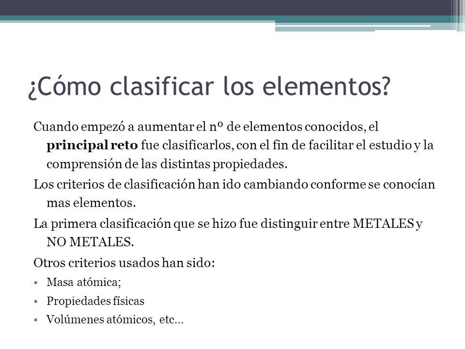 ¿Cómo clasificar los elementos