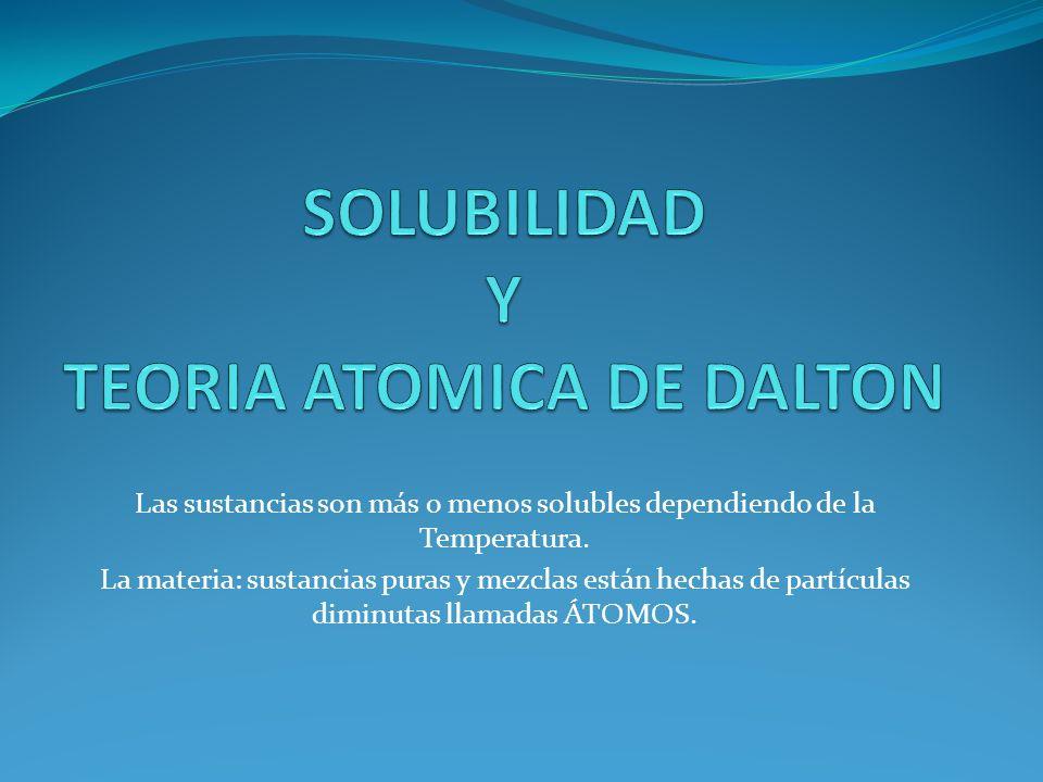 SOLUBILIDAD Y TEORIA ATOMICA DE DALTON