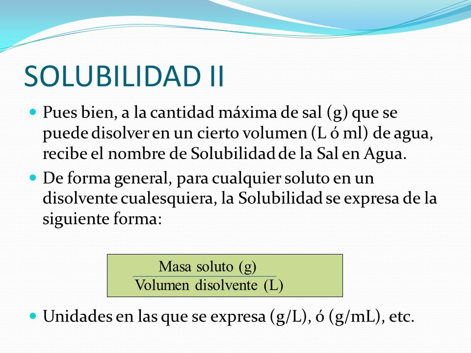 SOLUBILIDAD II