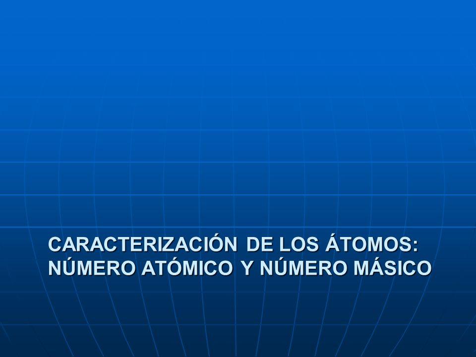 Caracterización de los átomos: número atómico y número másico