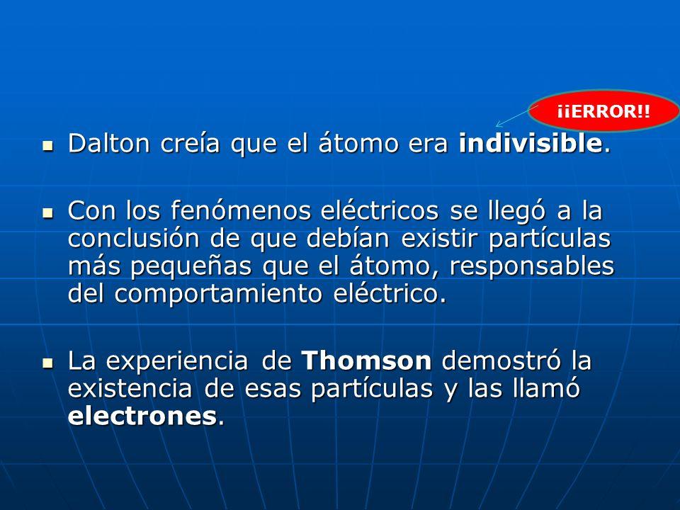 Dalton creía que el átomo era indivisible.