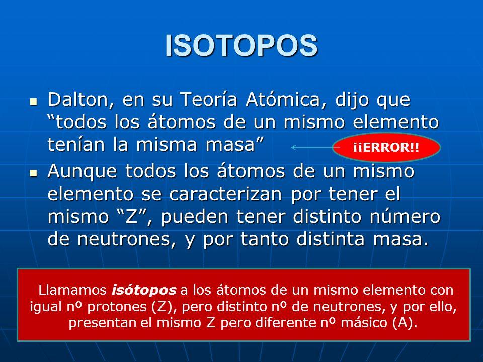 ISOTOPOS Dalton, en su Teoría Atómica, dijo que todos los átomos de un mismo elemento tenían la misma masa
