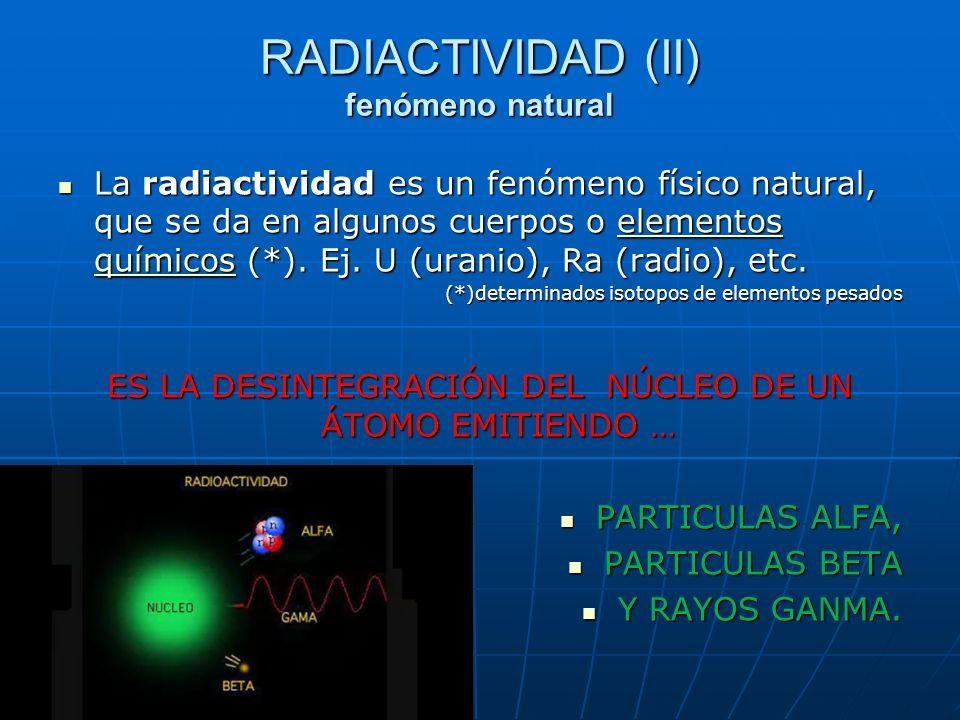 RADIACTIVIDAD (II) fenómeno natural