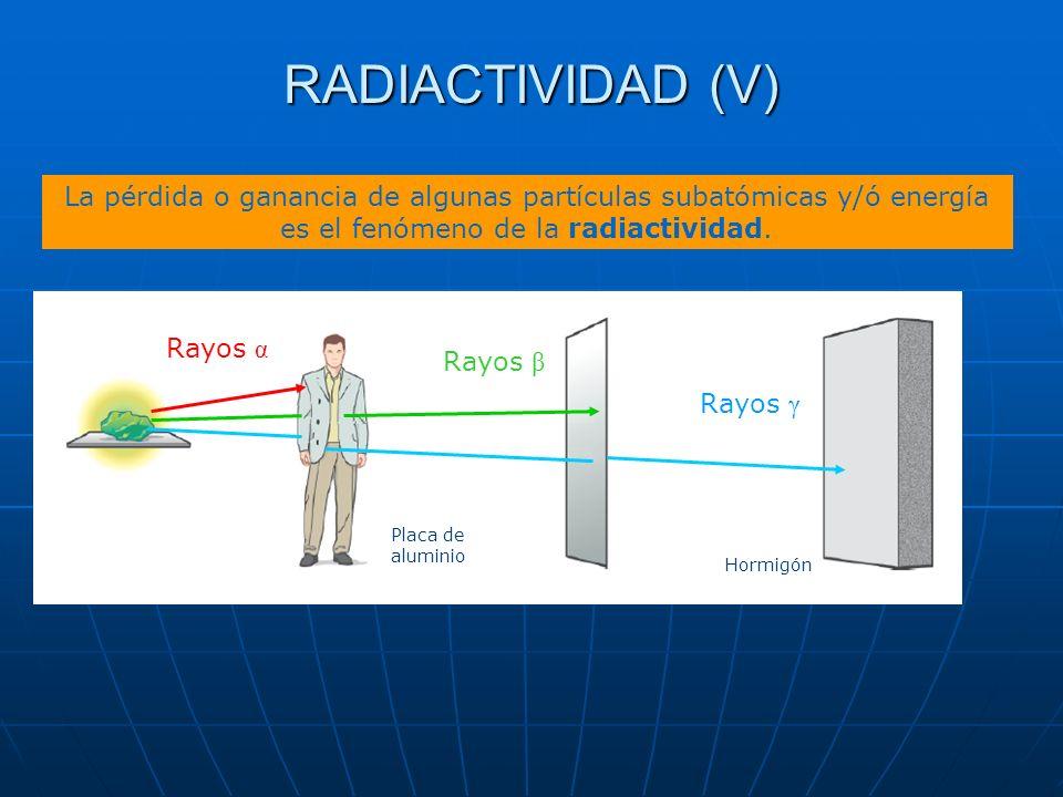 RADIACTIVIDAD (V) La pérdida o ganancia de algunas partículas subatómicas y/ó energía es el fenómeno de la radiactividad.