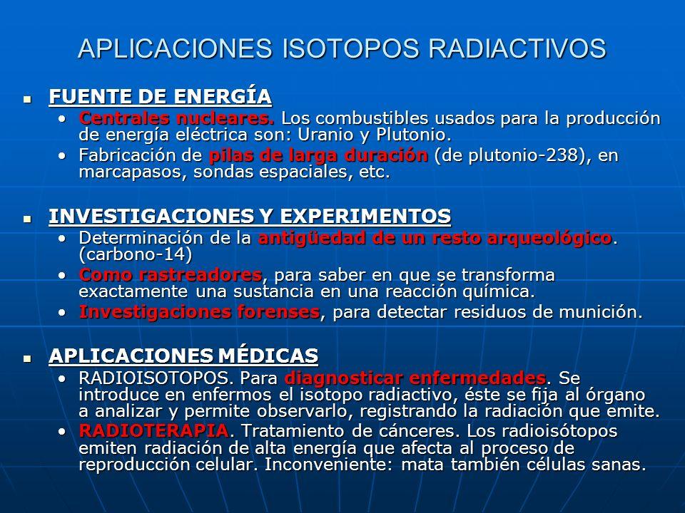 APLICACIONES ISOTOPOS RADIACTIVOS