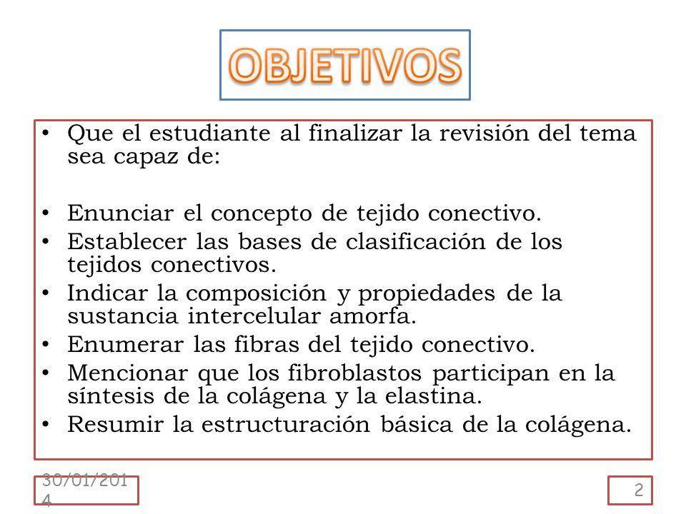 OBJETIVOS Que el estudiante al finalizar la revisión del tema sea capaz de: Enunciar el concepto de tejido conectivo.