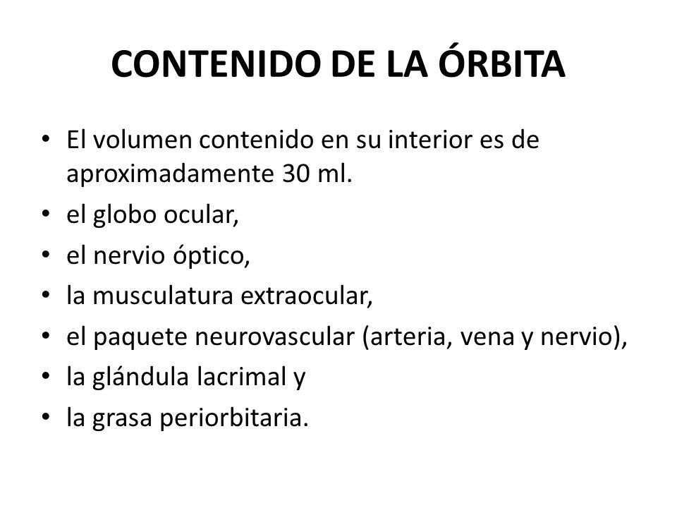 CONTENIDO DE LA ÓRBITA El volumen contenido en su interior es de aproximadamente 30 ml. el globo ocular,
