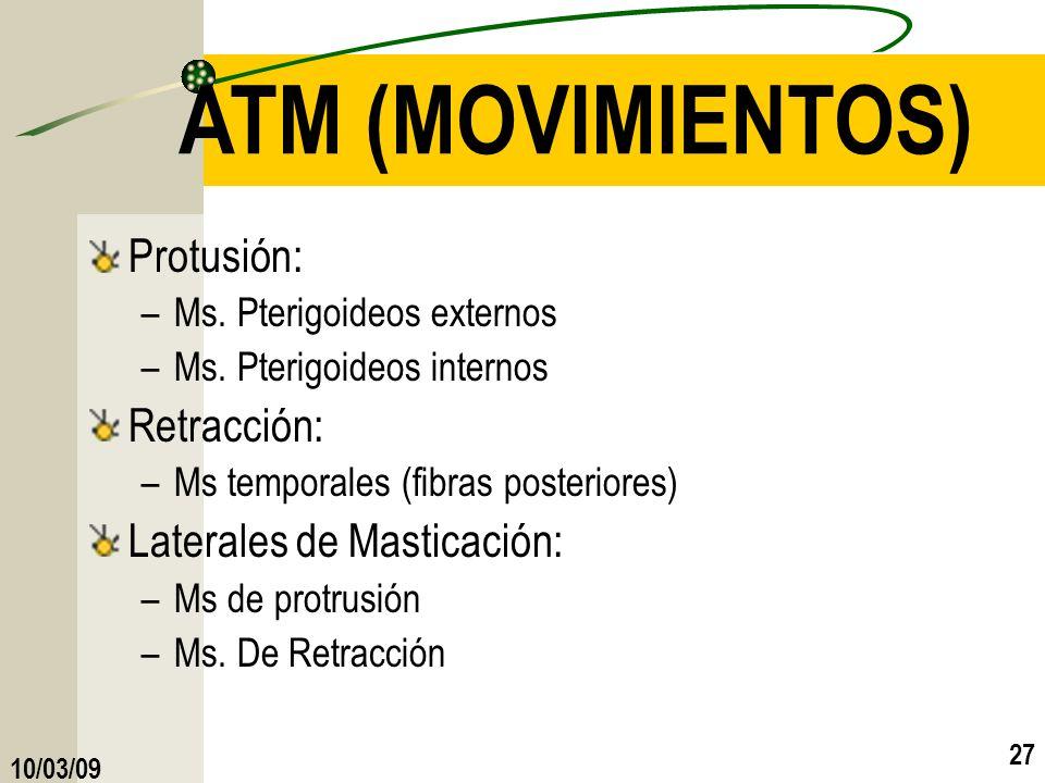 ATM (MOVIMIENTOS) Protusión: Retracción: Laterales de Masticación: