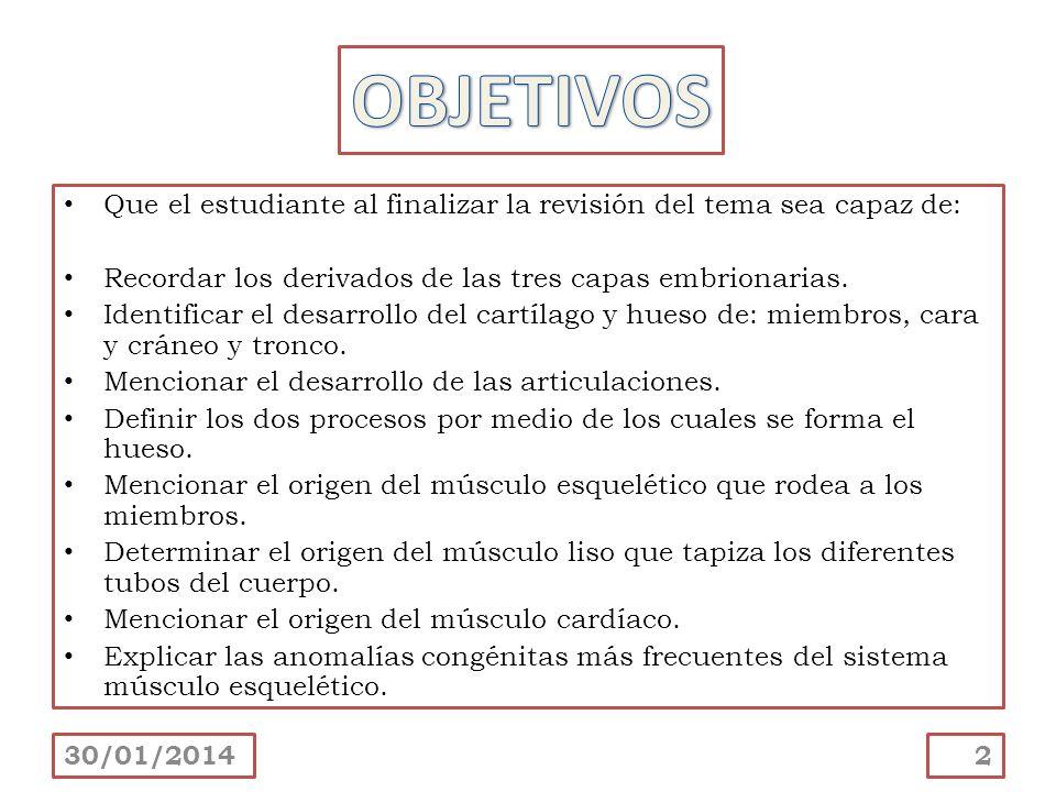 OBJETIVOS Que el estudiante al finalizar la revisión del tema sea capaz de: Recordar los derivados de las tres capas embrionarias.