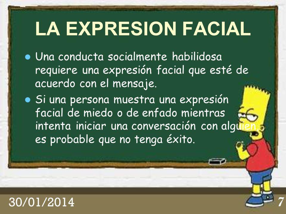 LA EXPRESION FACIAL Una conducta socialmente habilidosa requiere una expresión facial que esté de acuerdo con el mensaje.