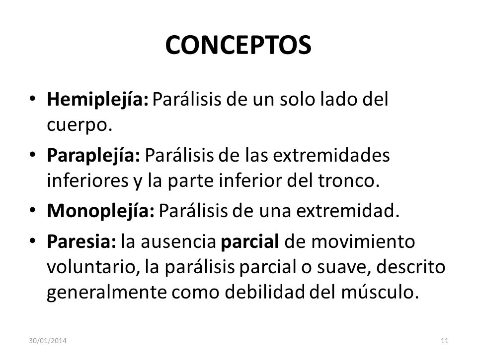 CONCEPTOS Hemiplejía: Parálisis de un solo lado del cuerpo.
