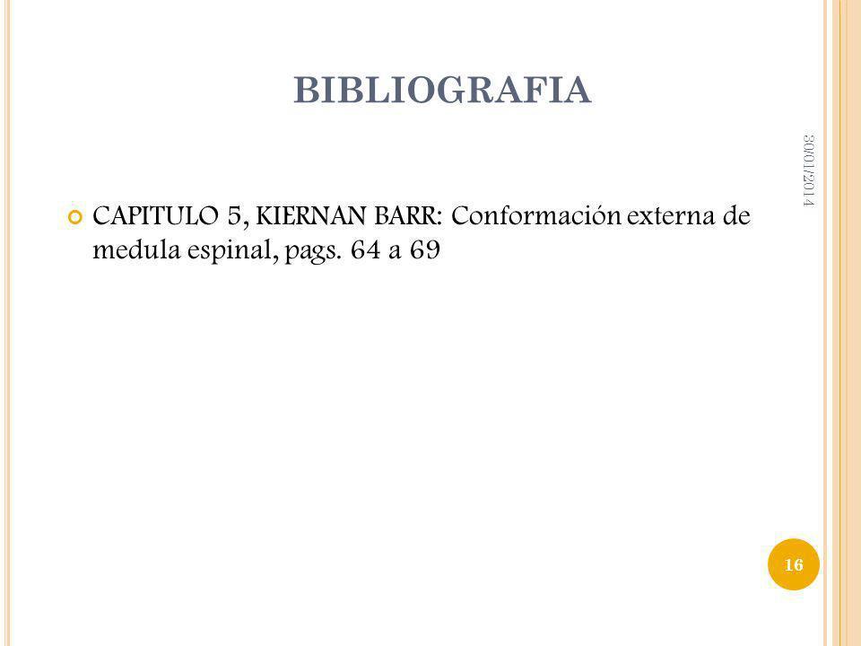BIBLIOGRAFIA24/03/2017.CAPITULO 5, KIERNAN BARR: Conformación externa de medula espinal, pags.