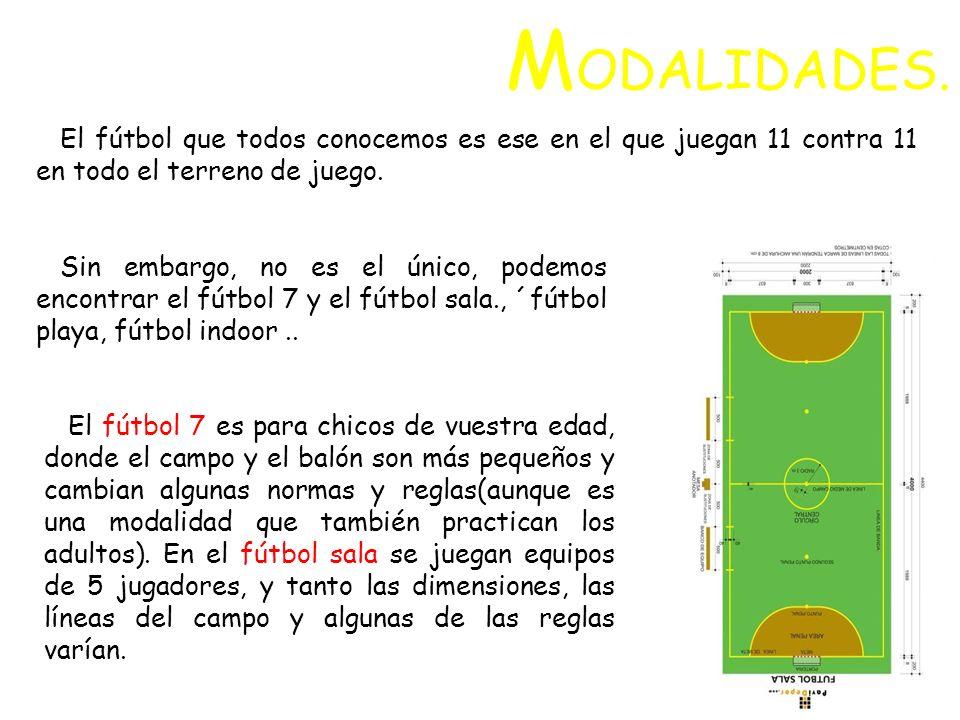 MODALIDADES.El fútbol que todos conocemos es ese en el que juegan 11 contra 11 en todo el terreno de juego.