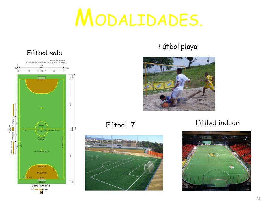 MODALIDADES. Fútbol playa Fútbol sala Fútbol indoor Fútbol 7