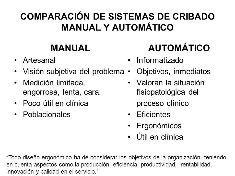 COMPARACIÓN DE SISTEMAS DE CRIBADO MANUAL Y AUTOMÁTICO