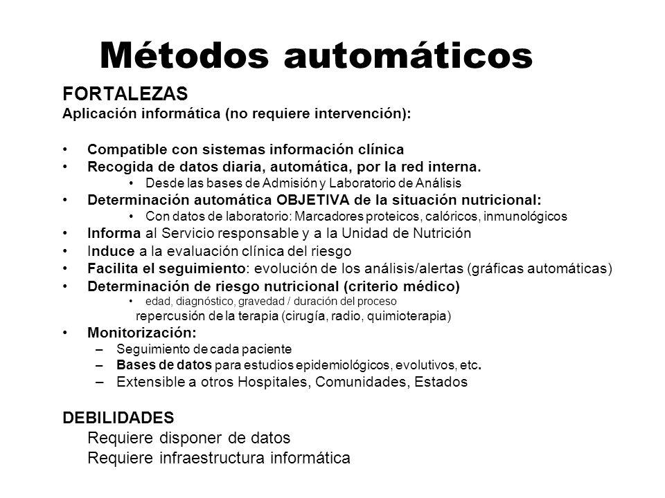 Métodos automáticos FORTALEZAS DEBILIDADES Requiere disponer de datos