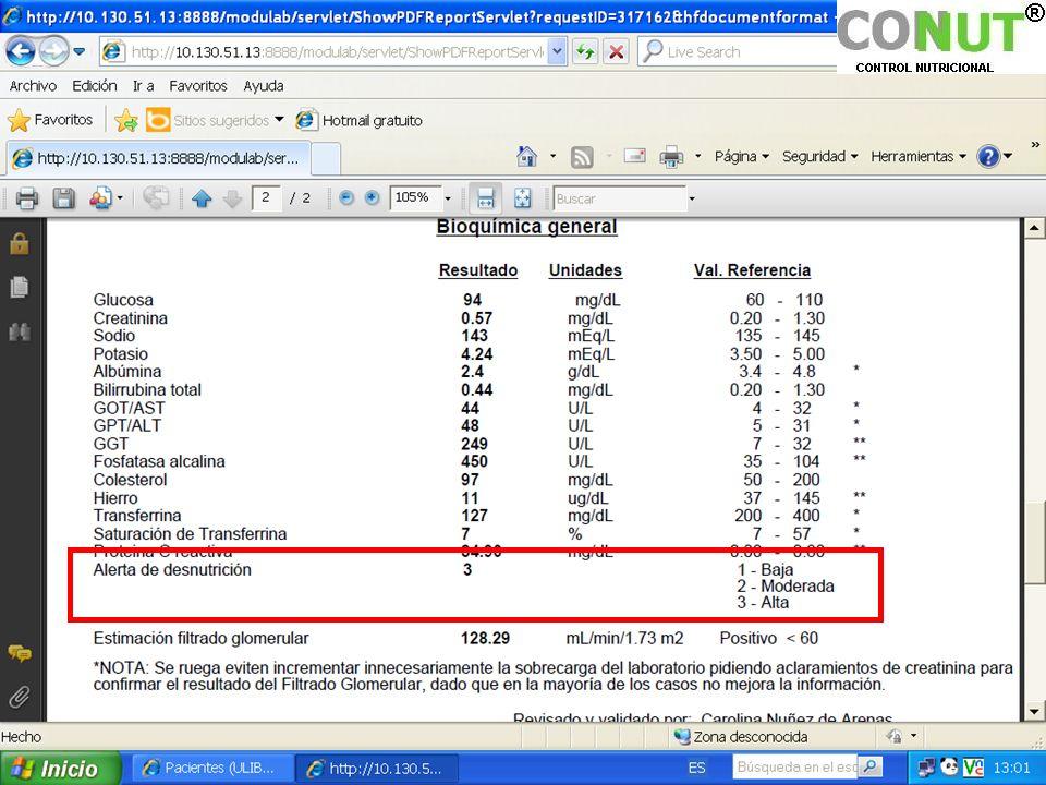 Ejemplo de informe automático de resultados del análisis Laboratorio.
