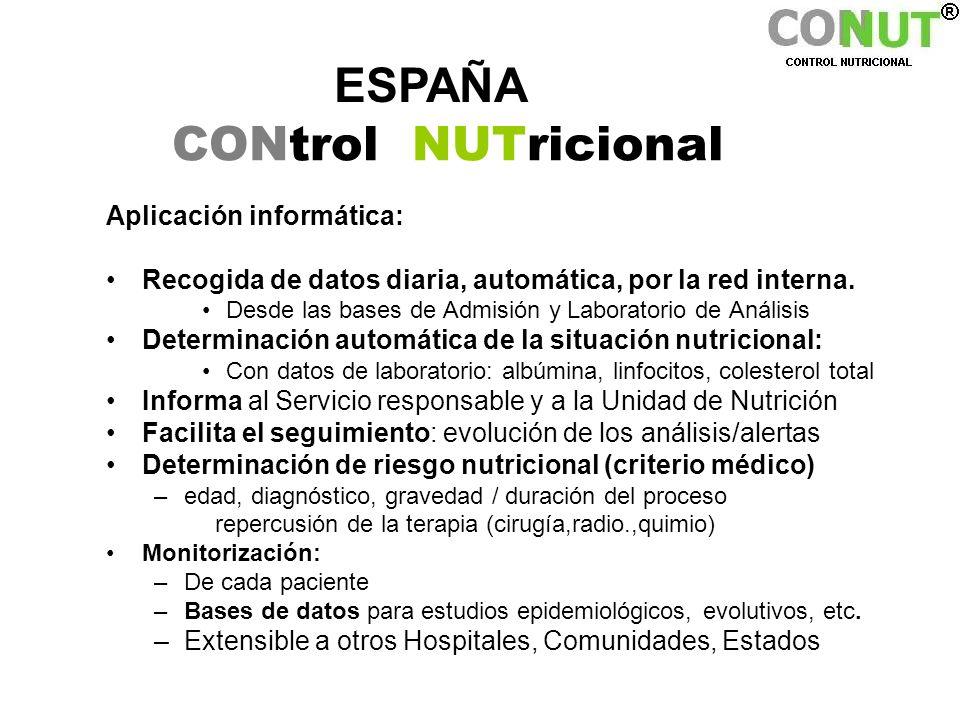 ESPAÑA CONtrol NUTricional Aplicación informática: