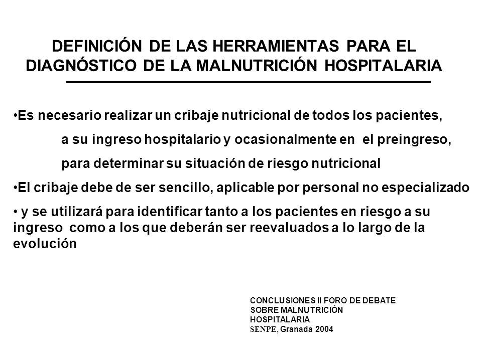 DEFINICIÓN DE LAS HERRAMIENTAS PARA EL DIAGNÓSTICO DE LA MALNUTRICIÓN HOSPITALARIA