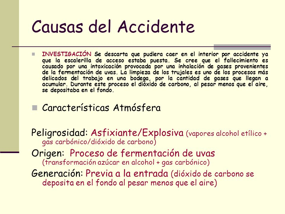 Causas del Accidente Características Atmósfera