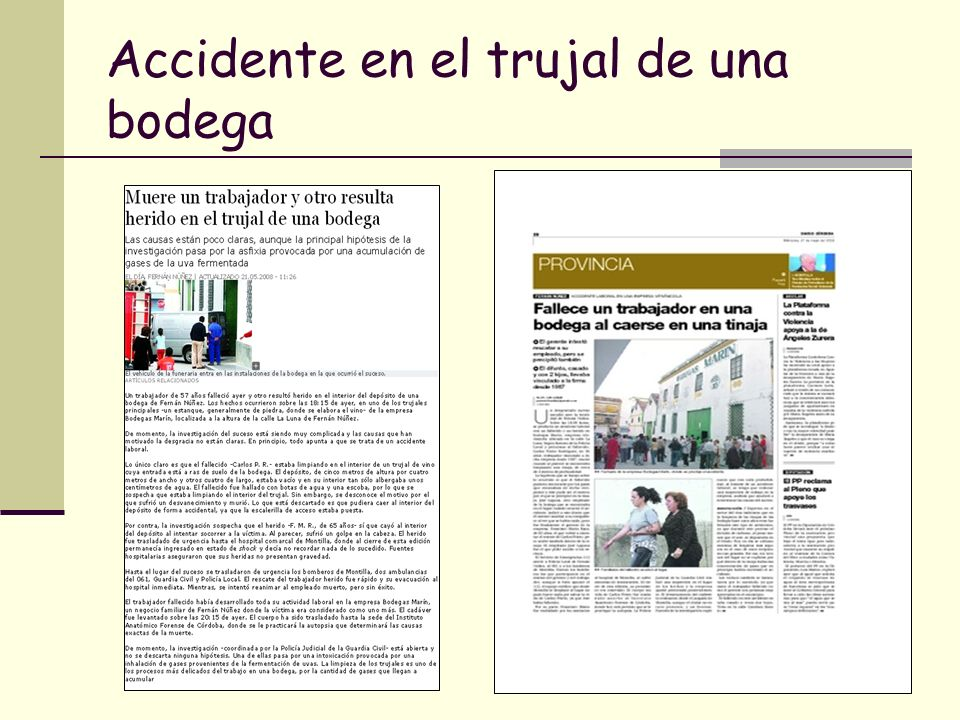 Accidente en el trujal de una bodega