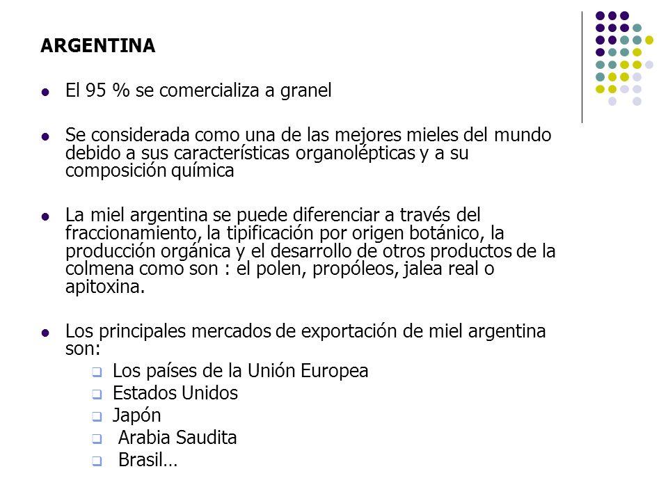 ARGENTINAEl 95 % se comercializa a granel.