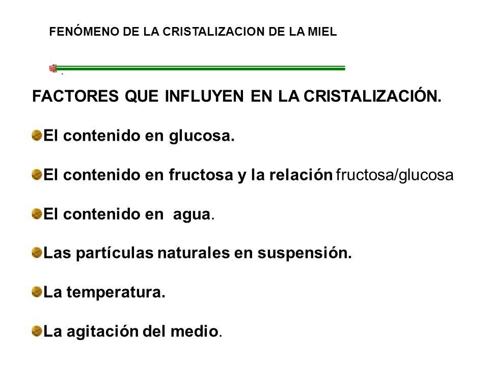 FACTORES QUE INFLUYEN EN LA CRISTALIZACIÓN. El contenido en glucosa.