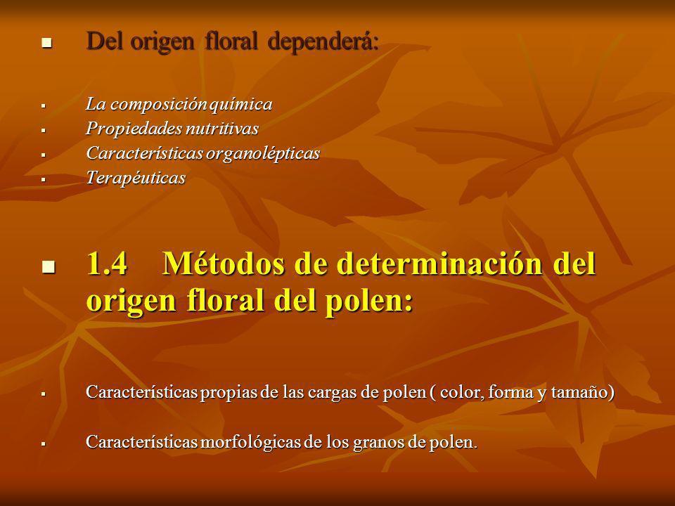 1.4 Métodos de determinación del origen floral del polen: