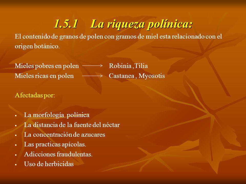 1.5.1 La riqueza polínica: El contenido de granos de polen con gramos de miel esta relacionado con el.