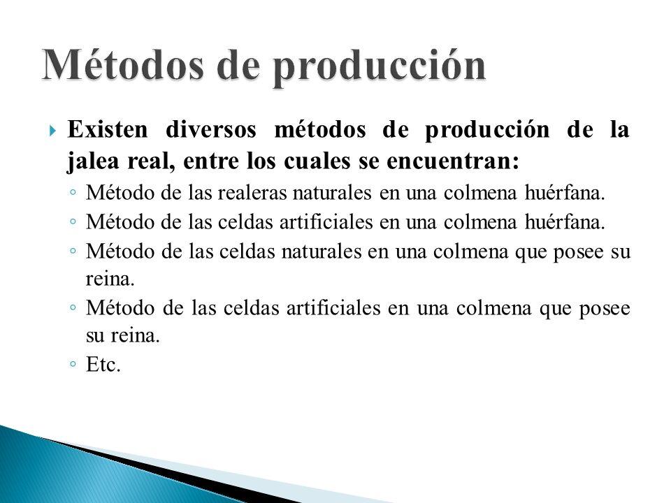 Métodos de producción Existen diversos métodos de producción de la jalea real, entre los cuales se encuentran: